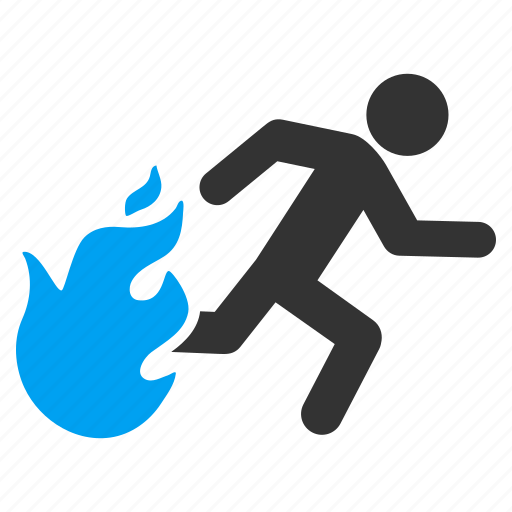burn, emergency, fire exit, fired person, flame, running man, safety way icon