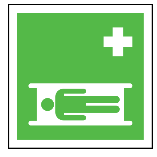 code, emergency, hospital, sign, sos, stretcher icon