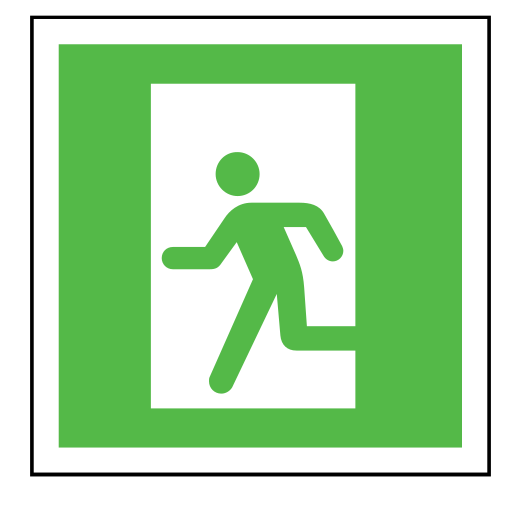 code, emergency, exit, sign, sos icon