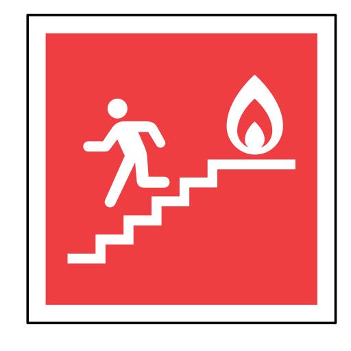 code, emergency, exit, fire, sign, sos, stairs icon