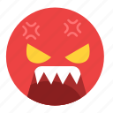angry, emoji, emoticon, emotion, face, feeling, pissed icon
