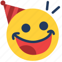 emoji, emoticon, emotion, enjoy, face, feeling, party icon