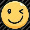 emoji, emotion, emotional, face, wink icon
