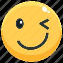 emoji, emotion, emotional, face, feeling, wink icon