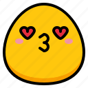 emoji, heart, kiss, love