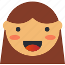 avatar, emoji, emoticons, emotion, face, girl, smiley icon