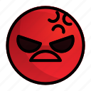 angry, emoji, emotion, face, feeling icon