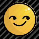 emoji, emotion, face, feeling, smile, smirking icon