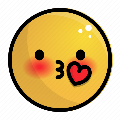 emoji, emotion, face, feeling, heart, kiss icon