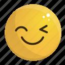 emoji, emotion, face, feeling, smile, wink icon