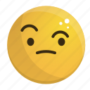 emoji, emotion, face, feeling, wondering icon
