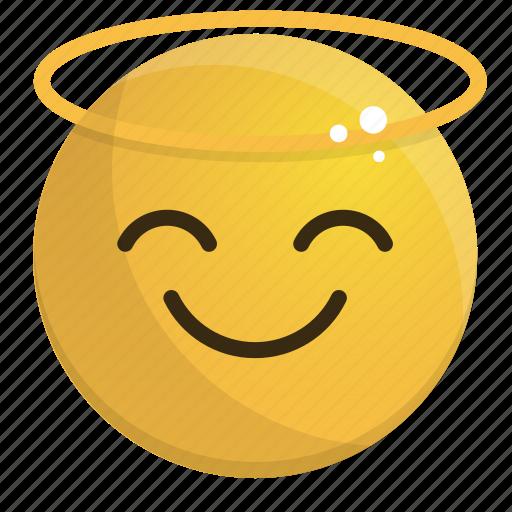 emoji, emotion, face, feeling, halo icon