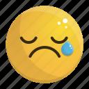 cry, emoji, emotion, face, feeling, sad icon