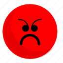 angry, emoji, emotion, face, feeling, sad, unhappy icon