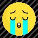 cry, emoji, emotion, face, feeling, sad, unhappy icon