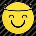 emoji, face, feeling, halo, happy, saint, smile icon