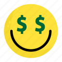 emoji, face, feeling, finance, happy, money, smile