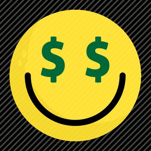 emoji, face, feeling, finance, happy, money, smile icon