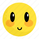 emoji, emotion, face, feeling, happy, shy, smile icon
