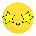 emoji, emotion, face, feeling, happy, smile, stars icon