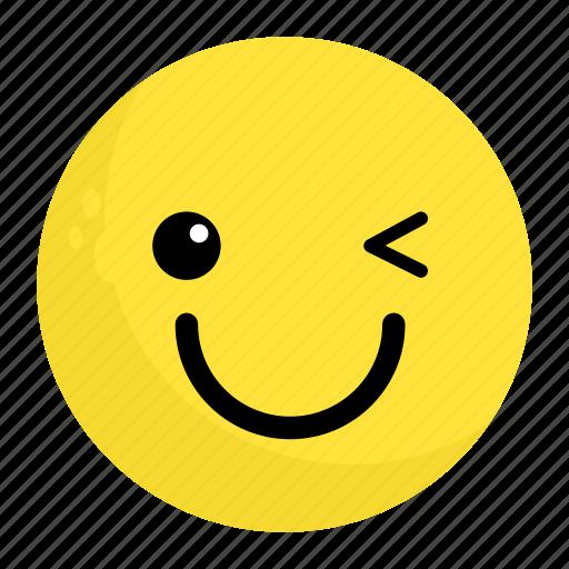 emoji, emotion, face, feeling, happy, smile, wink icon