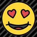 emoji, emoticon, eyes, face, hearth, love, smiley