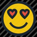 emoji, emoticon, emotion, expression, face, feeling, love eyes icon
