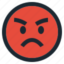 angry, emoticon, emotion, expression, face, feeling, rage icon