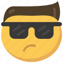 cool, emoji, emoticon, face, hair, sunglasses
