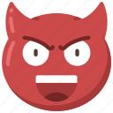 devil, emoji, emoticon, evil, face, smile icon