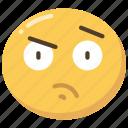 curious, emoji, emoticon, face, suspicion, suspicious