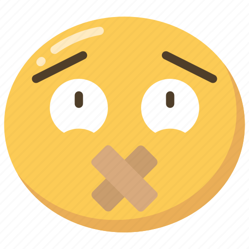 bandaid, emoji, emoticon, mouth, sealed, silent icon