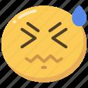 emoji, emoticon, face, headache, sick, sweat icon