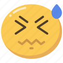 emoji, emoticon, face, headache, sick, sweat