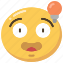 emoji, emoticon, face, idea, ideas, lightbulb icon