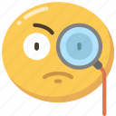 curious, detective, emoji, emoticon, glass, magnifying icon