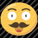 emoji, emoticon, happy, moustache, movember, smile