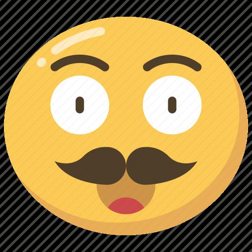 emoji, emoticon, happy, moustache, movember, smile icon