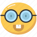 emoji, emoticon, glasses, happy, nerd, smile icon