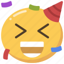 happy, party, emoticon, celebrate, emoji, confetti icon