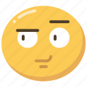 emoji, emoticon, expression, face, playful, smirk
