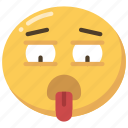 emoji, emoticon, exhausted, out, tired, worn icon
