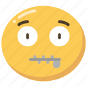 emoji, emoticon, mouth, shut, zip, zipped icon
