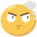 anger, angry, emoji, emoticon, think, thoughts icon