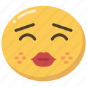 emoji, emoticon, kiss, kissing, lips, red icon