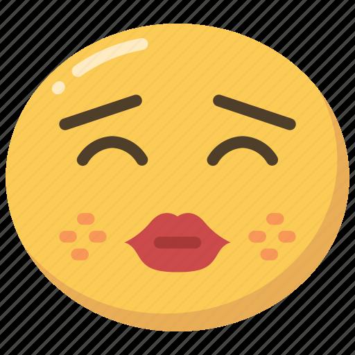emoji, emoticon, kiss, kissing, lips, red icon