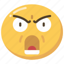 anger, angry, emoji, emoticon, shout, shouting