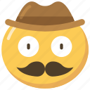 cowboy, emoji, emoticon, face, hat, moustache icon