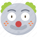 clown, emoji, emoticon, jester, joker, smile icon