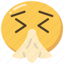 emoji, emoticon, flu, sick, sneeze, tissue